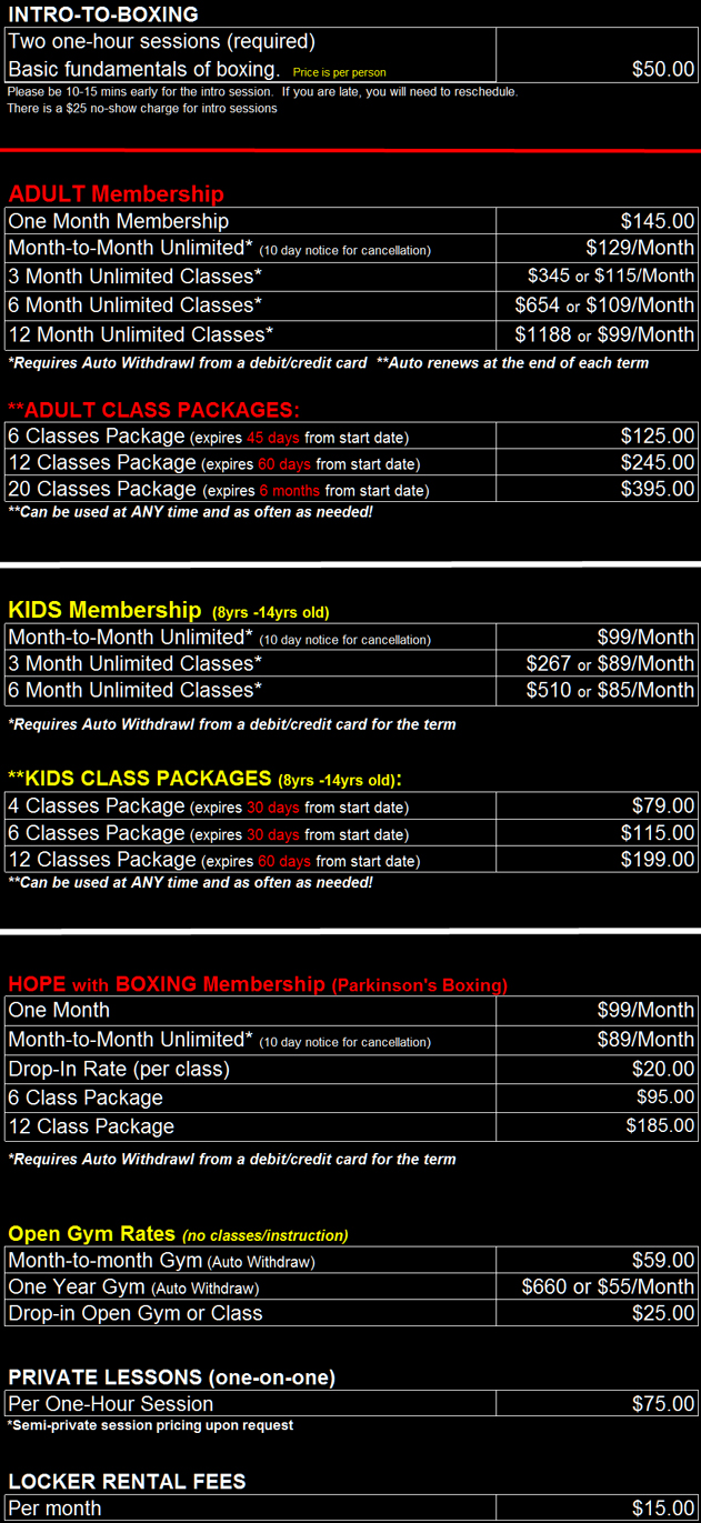 Wolfpack Boxing Pricing